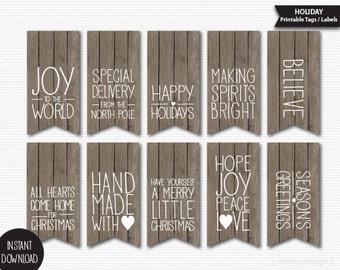 Rustic Christmas Tags Printable Wood Grain Texture Holiday Tags Christmas Gift Tags Holiday Gift Tags Rustic Holiday Tags Wood Gift Label