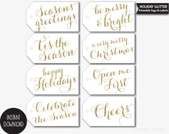 Gold Glitter Printable Christmas Holiday Hang Tags Printable Labels Gift Tags Glam Instant Download Digital PDF