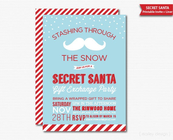 Secret Santa Invitation Gift Exchange Party Printable Holiday