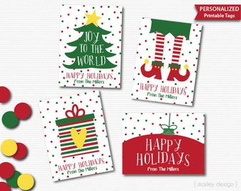 Christmas Tags Printable Holiday Tags Printable Christmas Labels Holiday Labels Personalized Customized 4 Designs Holiday Decorations Decor