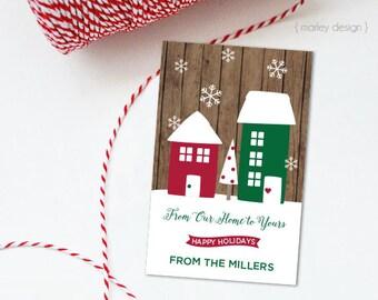 Printable Christmas Tags Neighbor Gifts Rustic Holiday Tags Holiday Gift Tags Christmas Favor Tags Holiday Favors Wood Background Digital