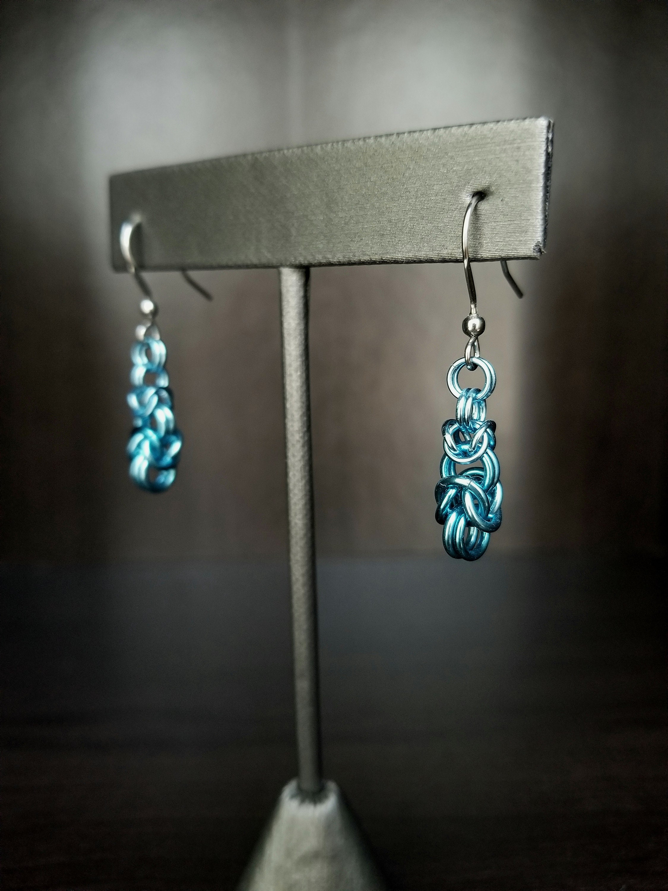 Graduated Byzantine Chainmaille Earrings, in sky blue