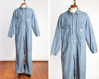 1f71e877dd6 Vintage Early 1950s Men s BLUE TOP Sanforized Herringbone Denim Workwear  Coveralls    Wearalls    Unionalls    Jumpsuit    Mechanic