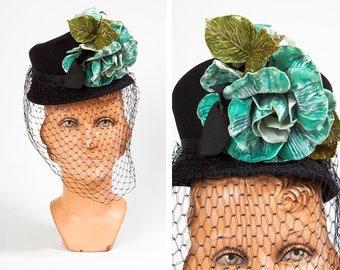 c080475c76123 Striking Vintage 1940s New York Creation Wool Tilt Hat with Oversized Teal  Velvet Flower and Veil