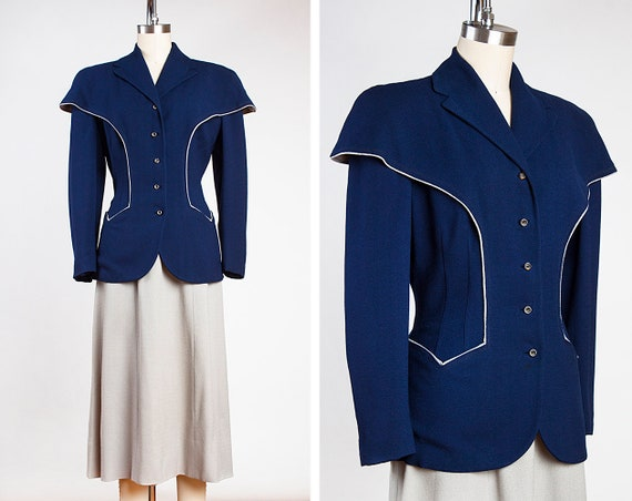 Gorgeous Two Tone Tailored 1940s Blue Wool Suit wi