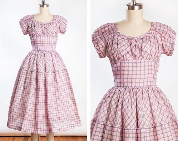Vintage 1950s Pink Sheer Gingham Cotton Dress // P