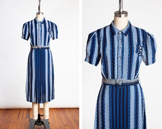 Adorable Vintage 1930s Blue Printed Cotton Day Dre