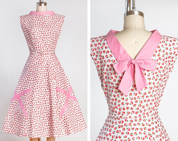 1950s Tomato Novelty Print Cotton Dress with Pink