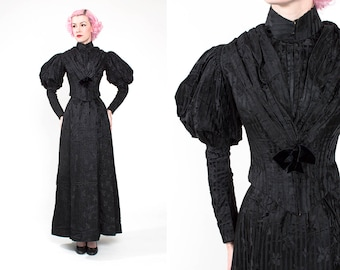 RARE Vintage 1890s Victorian Striped Black Silk Mourning Dress with Acorn Pattern & Gigot Sleeves // Film // Television // Widow's Weeds