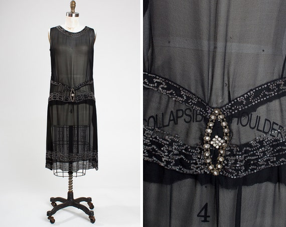 Vintage 1920s Black Silk Chiffon Beaded and Rhines