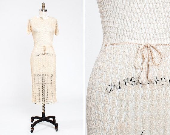 Beautiful 1930s Ivory Silk Acetate Crocheted Dress