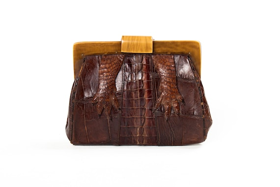 1930s NRA Alligator Clutch with Lacquered Plastic