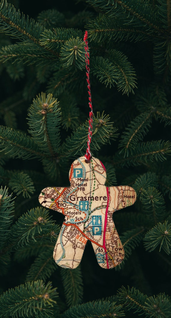 Personalised Gingerbread Man Map Art, Location Hanging Keepsake, Novelty Christmas Ornament, Anniversary Wedding Gift, Christmas Tree Decor