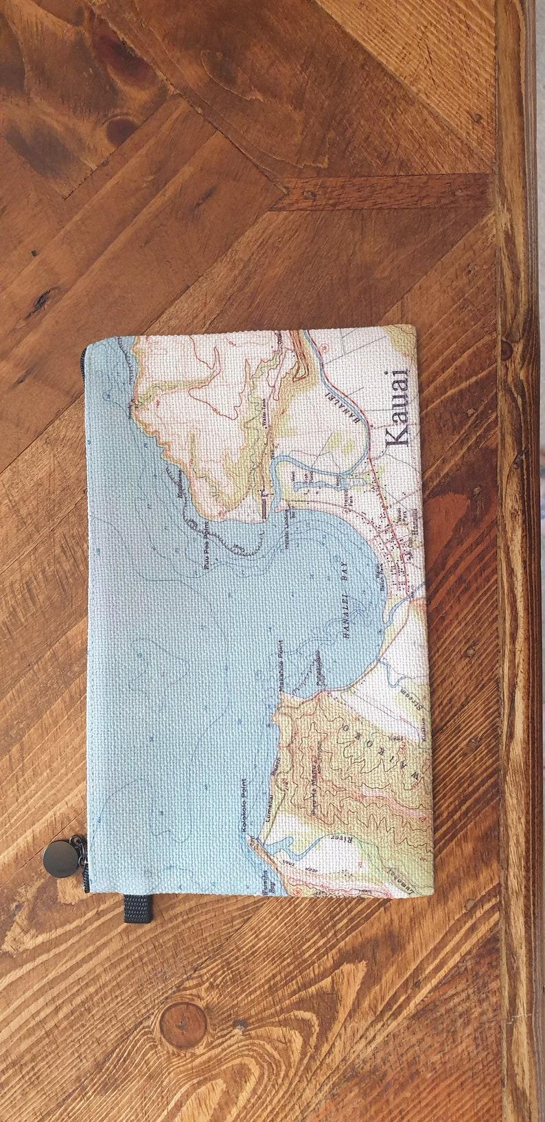 Hand Printed Wedding Milestone Gift. 4th Wedding Anniversary Gift Custom Map Coin Purse World Map Gift
