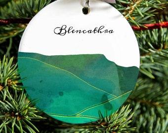 Illustrated Porcelain Blencathra Hanging Ornament, Lake District Gift, Ceramic Tree Decoration.