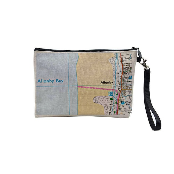 Personalised Linen Look Map Clutch Bag, Make Up Pouch, Travel Bag, Any Location Worldwide, Wedding Anniversary Gift, Hand Printed Gift.