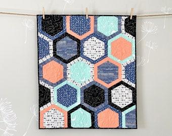 Stargazer Hexies snuggler size quilt