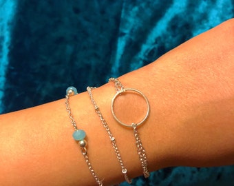 Beautiful Silver Dainty 3 Layer Chains Bracelet