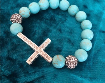 Turquoise Blue Beaded Rhinestone Cross Bracelet LOWEST PRICE EVER