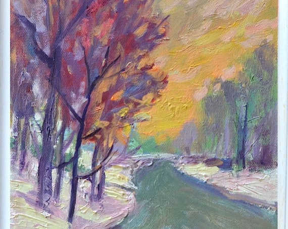 Impressionist landscape painting, Original Winter Snow,  Oil 10 X 8 Small Massachusetts Purple Orange Road path CLEARANCE