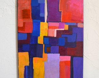 Abstract geometric acrylic painting, modern abstract painting colorful, Contemporary Bold red purple painting on canvas, 11 X 14, Grid