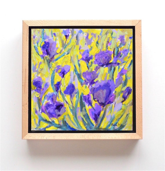 Floral Painting, Flower Painting, Purple Iris, Flower Garden, ORIGINAL Oil Painting, Square 12X12, Home Decor, Garima Parakh FREE SHIPPING