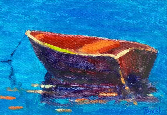 ORIGINAL Small Rowboat painting on paper, 5 X7  Oil , Impressionist art, Red Boat at Night, Nautical art by Garima Parakh