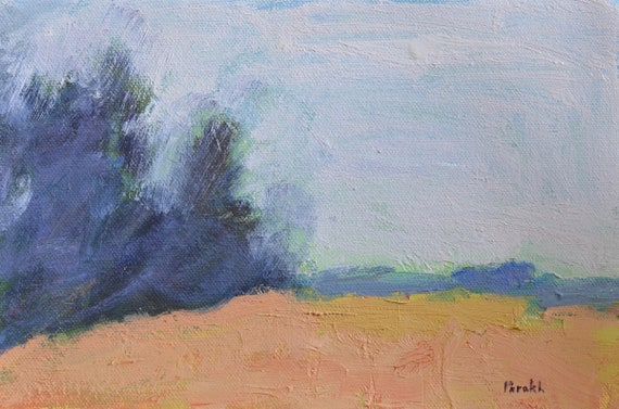 Abstract landscape painting, Modern, ORIGINAL, Minimalist, Oil on paper, 6 X 9 Rustic Pastoral Blue Grey Tan,  wall art, Garima Parak