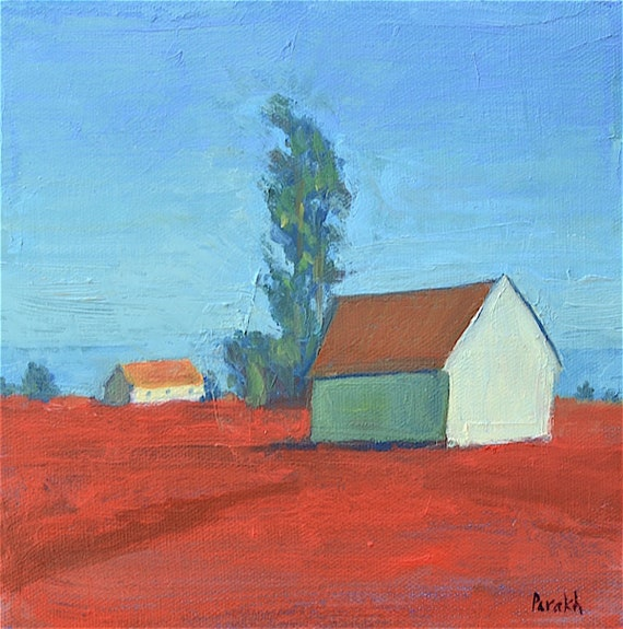Landscape Painting, Barn, ORIGINAL Oil Painting, 8 X 8  Impressionist, Ready to hang, Red fields, Rustic wall decor, Garima Parakh