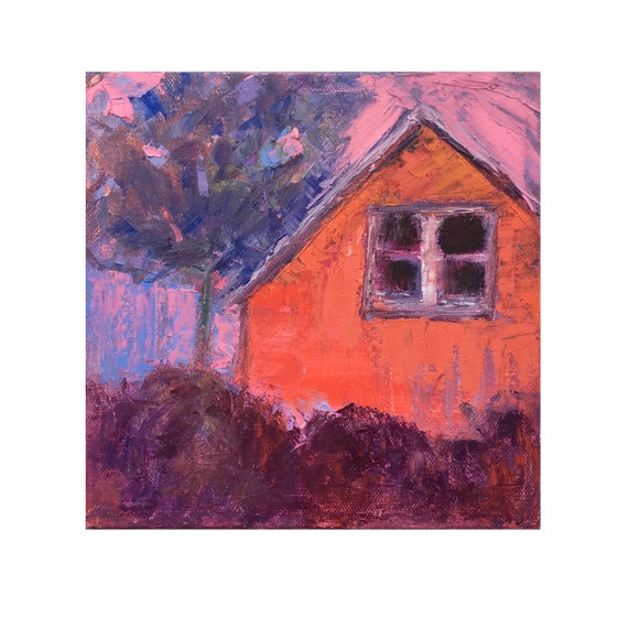 Original Red Barn painting, Small Impressionist landscape, Abstract house, Purple Red art, 8 X 8 canvas, Garima Parakh, Rustic decor