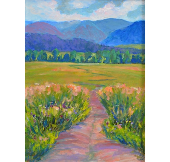 Impressionist Acrylic Landscape Painting, Large, Vertical, Great Smoky Mountains, 24 X 18, Summer, Cades Cove, Tennessee , by Garima Parakh