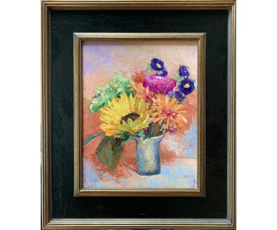 Original Still life Oil Painting, Framed fine art, Impressionist Sunflower bouquet in silver glass, Yellow, Orange, 16 X 12, Garima Parakh