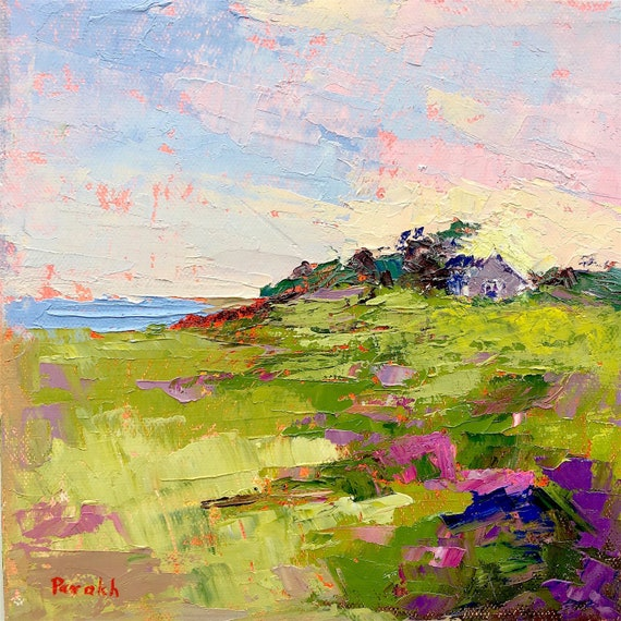 ORIGINAL Nantucket Beach landscape, 8 X 8, Palette knife Oil painting on canvas, Green art, Ocean, Square, Sconset cottage, Garima Parakh