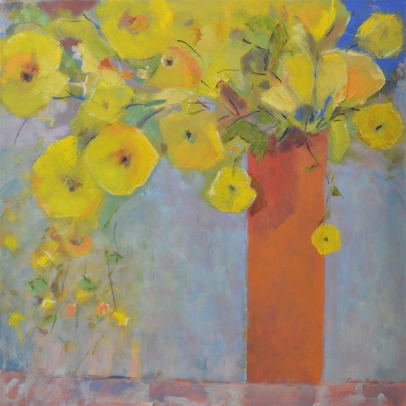 Large Contemporary Floral Oil painting, Original Abstract floral art, 30X30, Abstract Yellow flowers in Terracotta vase, by Garima Parakh