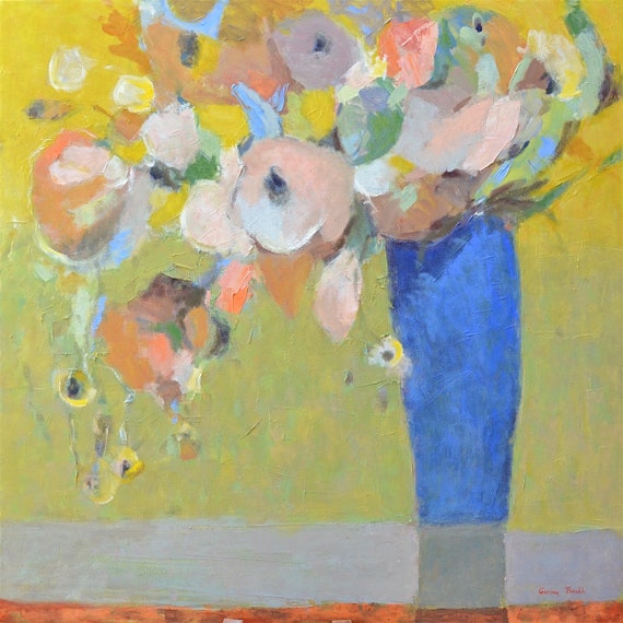 Large Modern Abstract floral , Large Painting on canvas, Original flower painting, 30X30, Yellow blue vase, Art by Garima Parakh
