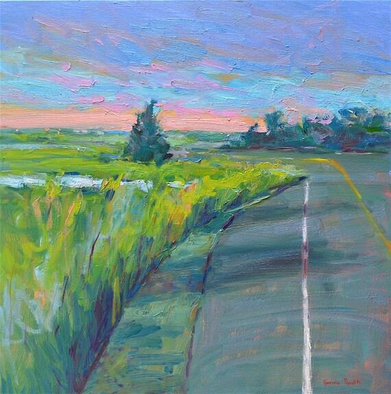 Landscape Oil Painting on canvas Original Marsh, 20 X 20 Summer sunset, Newburyport  Massachusetts art American Impressionist, Garima Parakh