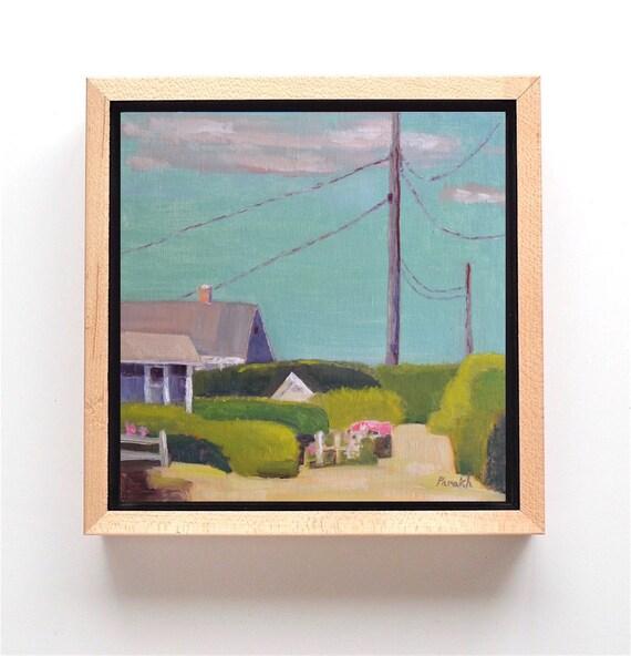 ORIGINAL Nantucket landscape, Oil painting, Coastal Cottages, 10 X 10, Contemporary Sconset houses, Beach landscape by Garima Parakh