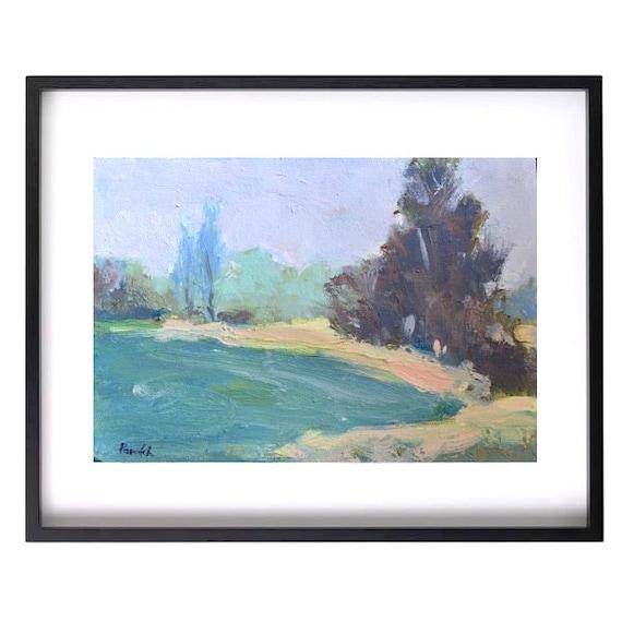 ORIGINAL Modern Small Rural landscape painting, Rustic Impressionist art, Trees Path, Pastel colors, 6 X 9 Pastoral scene Oil Garima Parakh
