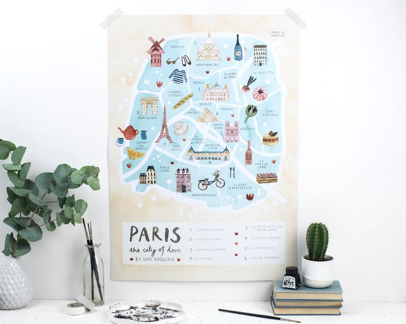 The Map Of France With The City.Paris Illustrated Map France Art Print City Map Poster