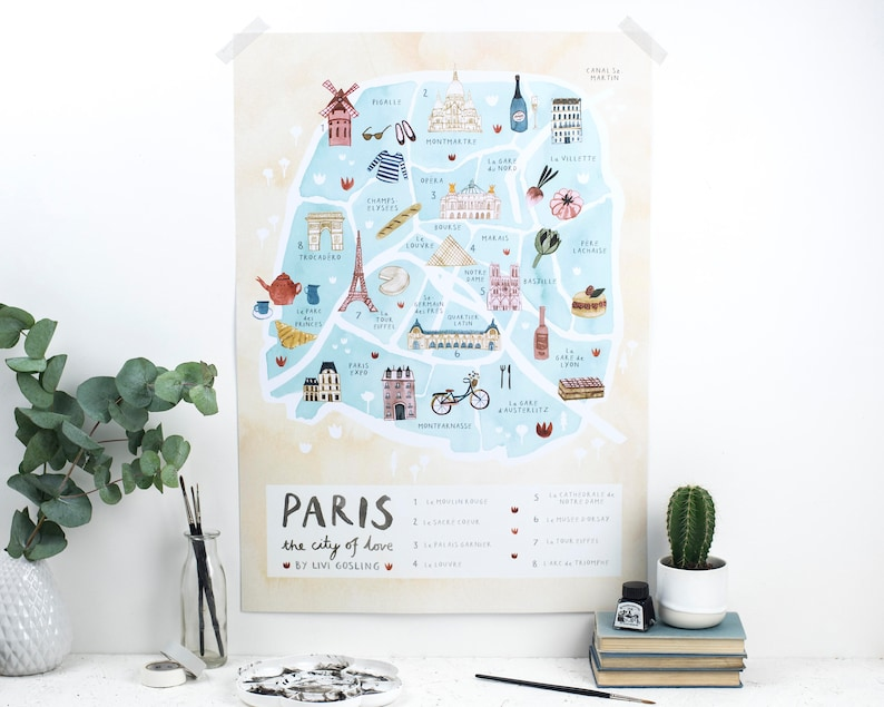 Paris Illustrated Map  France Art Print  City Map Poster image 0