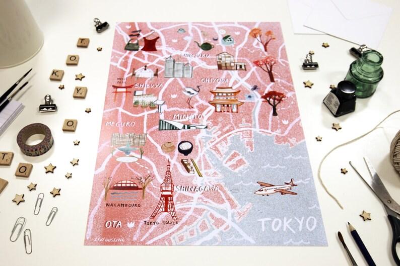 Tokyo Illustrated Map  Japan Art Print  City Map Poster image 0