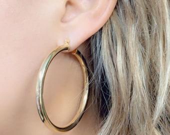 everyday earrings,gift 30018 gold hoop earrings,gold filled hoop earrings,gold earrings,simple hoops,minimalist earrings