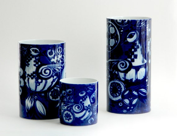 Rosenthal Bjrn Wiinblad Peacock Pattern Set Of Three Vases Etsy