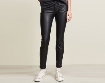 73997d5f3e7 Tailor-made Leather Pants SLIM FIT made of 100% real sheepskin nappa leather  ALISSA - Colour selection