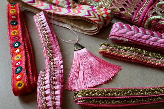 13 pièce MIC - rubans - mélange paquet chaque chaque paquet 1 mètre par Trim et remorque tons tassel - rose c18040
