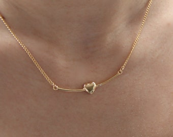 bce34f29f Heart Necklace, Gold Heart Necklace, Dainty Gold Necklace, Everyday Necklace,  Layered Necklace, Love Necklace, Gold Or Silver Necklace.