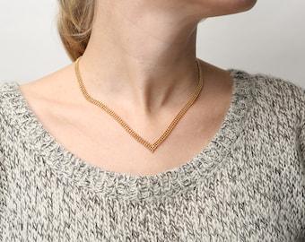 Dainty Gold Necklace, V Necklace, Chevron Necklace, Layering Gold Necklace, Geometric Necklace, Delicate 24k Gold Plated Jewelry.