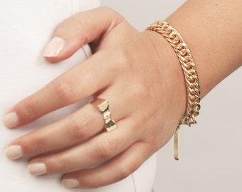 Gold Chain Bracelet, Statement Gold Bracelet, Curb Bracelet, Chunky Link Bracelet, Vintage Style Bracelet, 24k Gold Plated Jewelry.