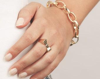 Link Gold Bracelet, Statement Gold Bracelet, Gold Chain Bracelet, Oval Gold Bracelet, Vintage Style Bracelet, 24k Gold Plated Jewelry.