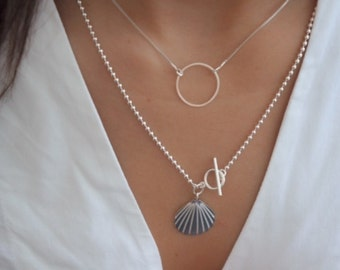 Seashell Necklace, Silver Shell Necklace, Sterling Silver Necklace, Dainty Layered Necklace, Everyday Silver or Gold Filled Necklace.